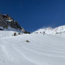 Surprisingly smooth and unaffected snow surfaces above treeline, 8,800 feet.