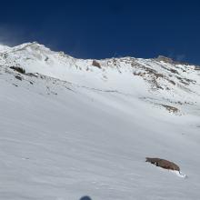 Smooth snow surfaces on this easterly aspect, 9,300 feet, Old Ski Bowl