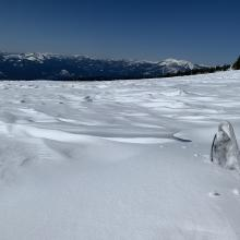 Example of snow surfaces near and above treeline.