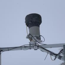 The heated tipping bucket at the Old Ski Bowl weather station measures snow/water equivalent (SWE)