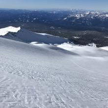 Snow surfaces above treeline in Avalanche Gulch