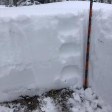Height of snow 20 inches, < 1 inch of new snow (F- to F hardness)