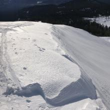 Drift forming along Broadway Ridge above Avalanche Gulch 8,400 feet