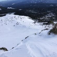 Looking down Sun Bowl from Broadway Ridge 8,500 feet