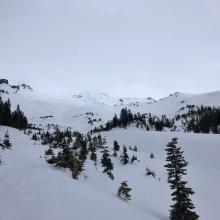 Looking up Avalanche Gulch 7,800 feet