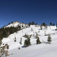 Near Heart Lake looking east; shallow snowpack on south side of Left Peak