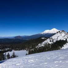 Left Peak, Castle lake with Mount Shasta behind. Photo taken from near Heart Lake