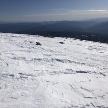 A representative picture of snow-pack along ridgeline