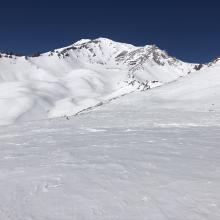 Looking towards the summit of Green Butte, Avalanche Gulch and Sargent Ridge behind