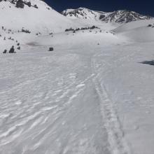 Looking up Avalanche Gulch from 7,800 feet.