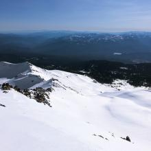 Looking down Avalanche Gulch