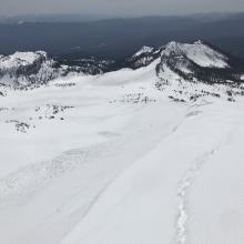 Old loose wet slides off east aspect of spur ridge