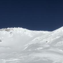 Upper Avalanche Gulch viewed from 9,500 feet on Green Butte Ridge