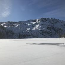 Castle Lake, lake level, Middle Peak in background. Lake is frozen and supportable.