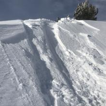 Small, shallow wind slabs near treeline on test slopes