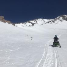 Snowmobile riding in Old Ski Bowl still decent, smooth and softening in afternoon