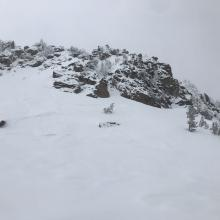 Old crown on westerly aspect of Red Butte (Old Ski Bowl area)