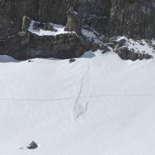 Point release, easterly aspect above treeline