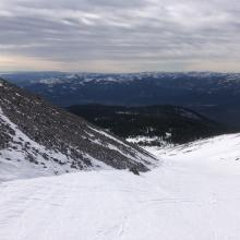 Looking down Avalanche Gulch. Note scouring on moraines.