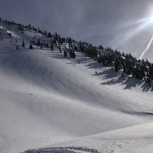 Smooth snow surfaces on west face of Gray Butte.