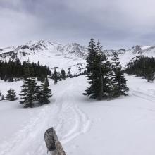 Ski track leading up Avalanche Gulch