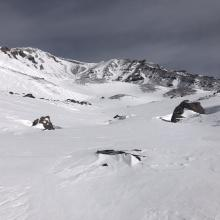 Looking up Avalanche Gulch from 50/50 flat.