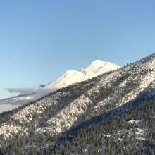 A glimpse of Mount Shasta from Parks Creek Road