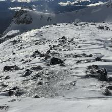 ice encrusted and scoured moraine tops and ridge lines, 9,500 feet
