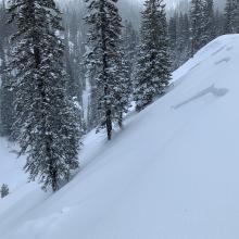 D2 storm slab, 6,300 feet, below treeline