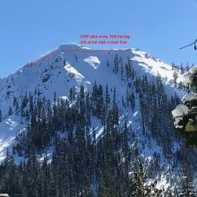 A good size D2 wind slab off an un-named 6,934 ft peak northeast of Cliff Lake