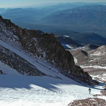 Mount Shasta - Cascade Gulch - View from saddle looking  back down